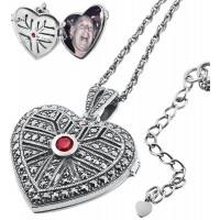 PT277   Marcasite and Garnet Heart Locket on Chain Sterling Silver Ari D Norman